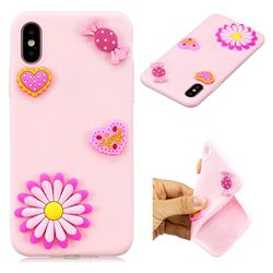 Heart Candy Flower Soft 3D Silicon Phone Back Cover for iPhone XS / X / 10 (5.8 inch)