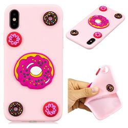 Pink Donut Soft 3D Silicon Phone Back Cover for iPhone XS / X / 10 (5.8 inch)