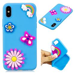 Butterfly Rainbow Flower Soft 3D Silicon Phone Back Cover for iPhone XS / X / 10 (5.8 inch)