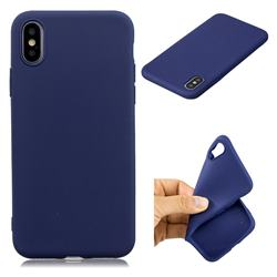 Candy TPU Soft Back Phone Cover for iPhone XS / X / 10 (5.8 inch) - Dark Blue