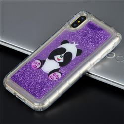 Naughty Panda Glassy Glitter Quicksand Dynamic Liquid Soft Phone Case for iPhone X(5.8 inch)