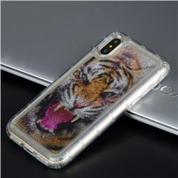 Tiger Glassy Glitter Quicksand Dynamic Liquid Soft Phone Case for iPhone XS / X / 10 (5.8 inch)