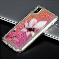 Lotus Glassy Glitter Quicksand Dynamic Liquid Soft Phone Case for iPhone XS / X / 10 (5.8 inch)