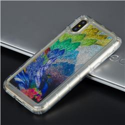 Phoenix Glassy Glitter Quicksand Dynamic Liquid Soft Phone Case for iPhone XS / X / 10 (5.8 inch)