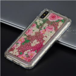 Rose Flower Glassy Glitter Quicksand Dynamic Liquid Soft Phone Case for iPhone XS / X / 10 (5.8 inch)
