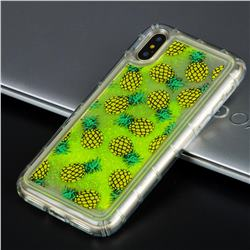Pineapple Glassy Glitter Quicksand Dynamic Liquid Soft Phone Case for iPhone XS / X / 10 (5.8 inch)