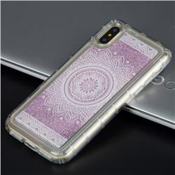 Mandala Glassy Glitter Quicksand Dynamic Liquid Soft Phone Case for iPhone XS / X / 10 (5.8 inch)