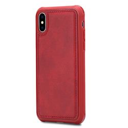 Luxury Shatter-resistant Leather Coated Phone Back Cover for iPhone XS / X / 10 (5.8 inch) - Red