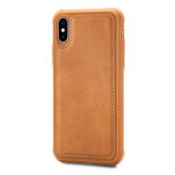 Luxury Shatter-resistant Leather Coated Phone Back Cover for iPhone XS / X / 10 (5.8 inch) - Brown