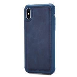 Luxury Shatter-resistant Leather Coated Phone Back Cover for iPhone XS / X / 10 (5.8 inch) - Blue