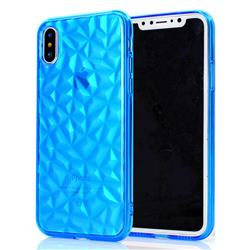 Diamond Pattern Shining Soft TPU Phone Back Cover for iPhone XS / X / 10 (5.8 inch) - Blue