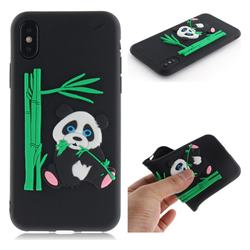 Panda Eating Bamboo Soft 3D Silicone Case for iPhone XS / X / 10 (5.8 inch) - Black