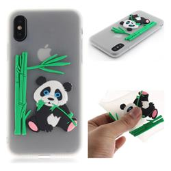 Panda Eating Bamboo Soft 3D Silicone Case for iPhone XS / X / 10 (5.8 inch) - Translucent