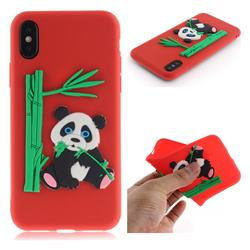 Panda Eating Bamboo Soft 3D Silicone Case for iPhone XS / X / 10 (5.8 inch) - Red