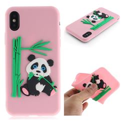 Panda Eating Bamboo Soft 3D Silicone Case for iPhone XS / X / 10 (5.8 inch) - Pink