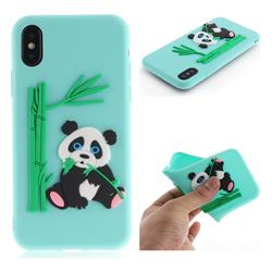 Panda Eating Bamboo Soft 3D Silicone Case for iPhone XS / X / 10 (5.8 inch) - Green