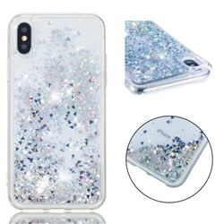 Dynamic Liquid Glitter Quicksand Sequins TPU Phone Case for iPhone XS / X / 10 (5.8 inch) - Silver