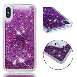 Dynamic Liquid Glitter Quicksand Sequins TPU Phone Case for iPhone XS / X / 10 (5.8 inch) - Purple