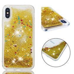 Dynamic Liquid Glitter Quicksand Sequins TPU Phone Case for iPhone XS / X / 10 (5.8 inch) - Golden