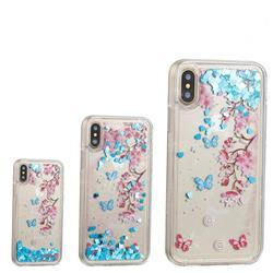 Blue Plum Blossom Dynamic Liquid Glitter Quicksand Soft TPU Case for iPhone XS / X / 10 (5.8 inch)
