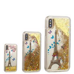 Golden Tower Dynamic Liquid Glitter Quicksand Soft TPU Case for iPhone XS / X / 10 (5.8 inch)