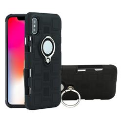 Ice Cube Shockproof PC + Silicon Invisible Ring Holder Phone Case for iPhone XS / X / 10 (5.8 inch) - Black