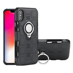 Ice Cube Shockproof PC + Silicon Invisible Ring Holder Phone Case for iPhone XS / X / 10 (5.8 inch) - Gray