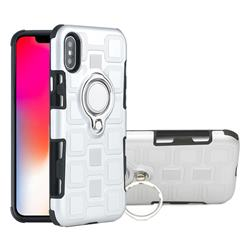Ice Cube Shockproof PC + Silicon Invisible Ring Holder Phone Case for iPhone XS / X / 10 (5.8 inch) - Silver