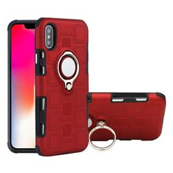 Ice Cube Shockproof PC + Silicon Invisible Ring Holder Phone Case for iPhone XS / X / 10 (5.8 inch) - Red