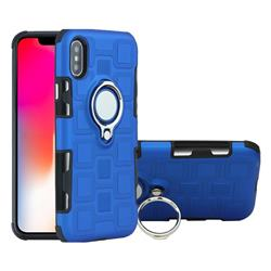 Ice Cube Shockproof PC + Silicon Invisible Ring Holder Phone Case for iPhone XS / X / 10 (5.8 inch) - Dark Blue
