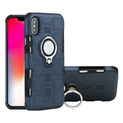 Ice Cube Shockproof PC + Silicon Invisible Ring Holder Phone Case for iPhone XS / X / 10 (5.8 inch) - Royal Blue