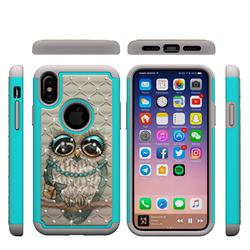 Sweet Gray Owl Studded Rhinestone Bling Diamond Shock Absorbing Hybrid Defender Rugged Phone Case Cover for iPhone XS / X / 10 (5.8 inch)