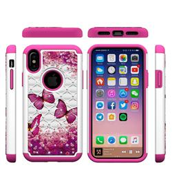 Rose Butterfly Studded Rhinestone Bling Diamond Shock Absorbing Hybrid Defender Rugged Phone Case Cover for iPhone XS / X / 10 (5.8 inch)