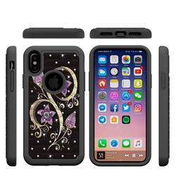 Peacock Flower Studded Rhinestone Bling Diamond Shock Absorbing Hybrid Defender Rugged Phone Case Cover for iPhone XS / X / 10 (5.8 inch)
