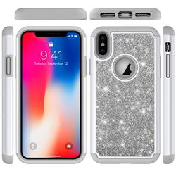 Glitter Rhinestone Bling Shock Absorbing Hybrid Defender Rugged Phone Case Cover for iPhone XS / iPhone X(5.8 inch) - Gray
