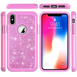 Glitter Rhinestone Bling Shock Absorbing Hybrid Defender Rugged Phone Case Cover for iPhone XS / iPhone X(5.8 inch) - Pink