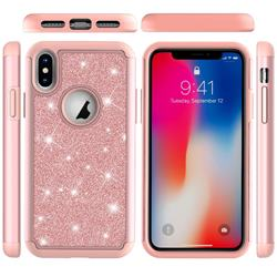 Glitter Rhinestone Bling Shock Absorbing Hybrid Defender Rugged Phone Case Cover for iPhone XS / iPhone X(5.8 inch) - Rose Gold