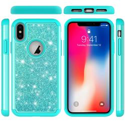 Glitter Rhinestone Bling Shock Absorbing Hybrid Defender Rugged Phone Case Cover for iPhone XS / iPhone X(5.8 inch) - Green