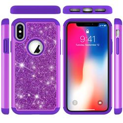 Glitter Rhinestone Bling Shock Absorbing Hybrid Defender Rugged Phone Case Cover for iPhone XS / iPhone X(5.8 inch) - Purple