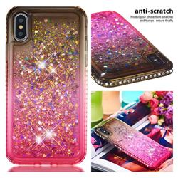 Diamond Frame Liquid Glitter Quicksand Sequins Phone Case for iPhone XS / iPhone X(5.8 inch) - Gray Pink