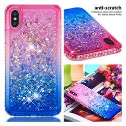 Diamond Frame Liquid Glitter Quicksand Sequins Phone Case for iPhone XS / iPhone X(5.8 inch) - Pink Blue