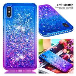 Diamond Frame Liquid Glitter Quicksand Sequins Phone Case for iPhone XS / iPhone X(5.8 inch) - Blue Purple