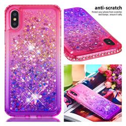 Diamond Frame Liquid Glitter Quicksand Sequins Phone Case for iPhone XS / iPhone X(5.8 inch) - Pink Purple