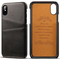 Suteni Retro Classic Card Slots Calf Leather Coated Back Cover for iPhone XS / iPhone X(5.8 inch) - Black