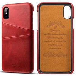 Suteni Retro Classic Card Slots Calf Leather Coated Back Cover for iPhone XS / iPhone X(5.8 inch) - Red
