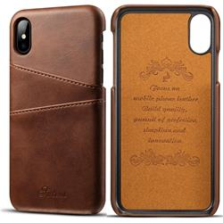 Suteni Retro Classic Card Slots Calf Leather Coated Back Cover for iPhone XS / iPhone X(5.8 inch) - Brown