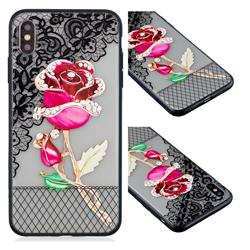 Rose Lace Diamond Flower Soft TPU Back Cover for iPhone XS / iPhone X(5.8 inch)
