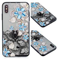 Lilac Lace Diamond Flower Soft TPU Back Cover for iPhone XS / iPhone X(5.8 inch)