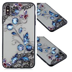 Butterfly Lace Diamond Flower Soft TPU Back Cover for iPhone XS / iPhone X(5.8 inch)