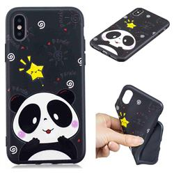 Cute Bear 3D Embossed Relief Black TPU Cell Phone Back Cover for iPhone XS / iPhone X(5.8 inch)